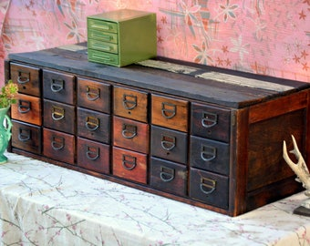 Antique Library Card Catalog Filing Cabinet: Rutic 18 Drawer Dovetail Wood Storage Organizer with Matching Brass Label Pulls -- 3x5 Cards
