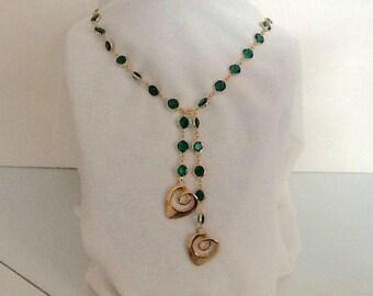 Swarovski crystal necklace with hearts