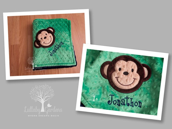 Monkey personalized minky baby blanket personalized minky monkey personalized minky baby blanket personalized minky baby blanket personalized baby gifts monkey appliqued minky baby blanket negle Image collections