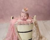 Newborn Crown Headband - Soft Crown Photo Prop - Gold - Pink - Small Crown - Baby Crown - Mini Glitter Princess Crown - Tulle