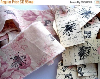 Spring Clearance SaLe 12 Hand Stamped Hang Tags - 2 yards of Stamped Fabric Trim - Scrapbooking Cottage Chic Scrapbook  paris french
