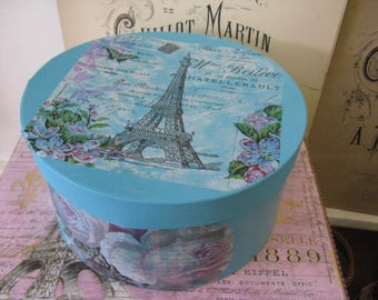Romantic Aged Nordic French Inspired Cottage Chic Hat Box French Carte Postale Blue