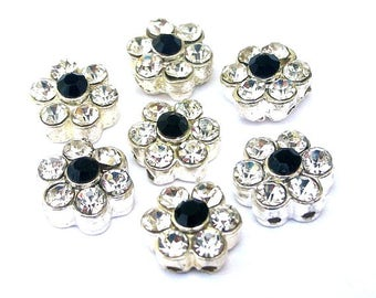 3 clear crystal TINY 2 hole slider beads with jet black center, 10mm, daisy flower, clear and black slider beads