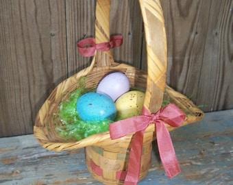 SALE: Easter Basket, Vintage, Easter Eggs, Basket, Cottage, Spring Decor