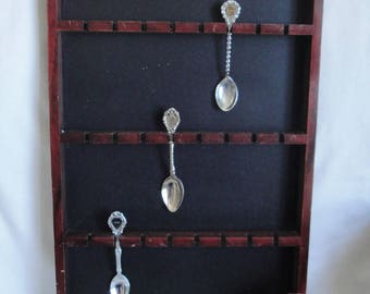 Wood Spoon Rack Display Holds Up To 24 Souvenir Spoons Vintage