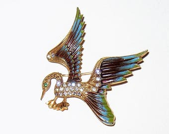 Vintage Rhinestone Enamel Bird Duck Brooch