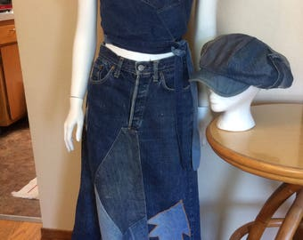Vintage 1970s 70s LEVIS Selvedge Jean / Denim Hippie Patchwork Big E Long Skirt plus Top Redline and Hat RARE size  s/m
