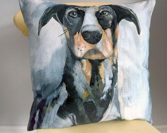 Painted dog cushion