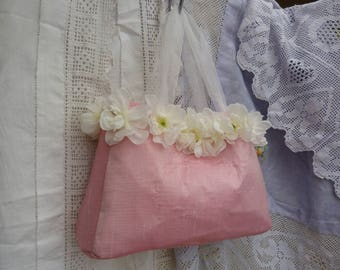 Pure silk bag - pale pink silk taffeta with white hand stitched delphinium flowers - wedding, bridesmaid, bride, handbag