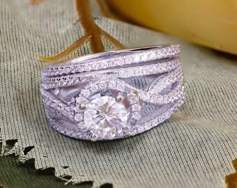 GIA G-SI1 14K White Gold Round Cut Diamond Engagement Ring and Band, Bridal Set, Wedding, Anniversary, Halo, Prong set, Art Deco 1.45ct
