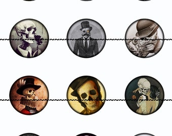 Skull Magnets~Gothic Magnets~Skull Pins~Skull Magnets~Gentlemen Skulls~Party Favors~Fridge Magnets~Refrigerator Magnets~Gothic Wedding