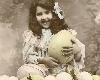 RPPC Joyeuses Paques Girl With Easter Eggs and Roses Antique French Easter Postcard – early 1910s