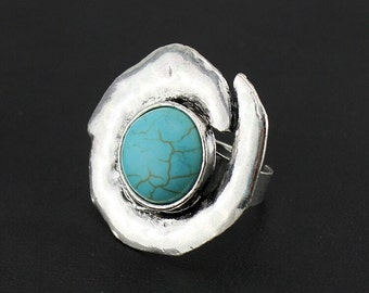 Unique Turquoise Cocktail Ring, Big Turquoise Statement Ring, Trendy Adjustable Ring, Blue Fashion Rings, Blue Jewelry, Boho summmer Rings