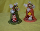 Vintage Pair of Christmas Bell Ornaments, Holiday Diorama, Retro Kitschy