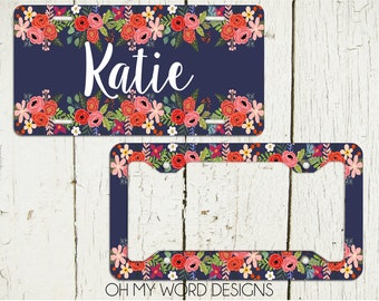 Personalized Car Tag-Personalized License Plate-Monogram Car Tag-Monogrammed License Plate-Flower Car Tag