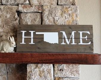 Oklahoma HOME, Reclaimed Wood Sign, OK Sign, Oklahoma Artwork, Rustic Oklahoma Sign, Wooden Oklahoma, Oklahoma Wood Sign, Oklahoma Decor,