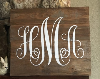 Custom Three Letter Monogram Sign, Script Style, Distressed Wood, Hand-painted, White Lettering, Custom color, Wedding Gift, Baby Gift,