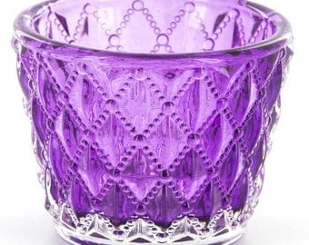 Purple Quilted Wedding / Party Glass Jar Votive / Tea Light Candle Holder