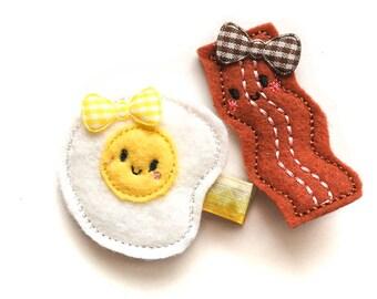 Egg and Bacon Set Felt embroidery hair clip / baby girl hair clip / girl hair clip / barrette.