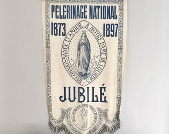 Antique 1897 French Silk Banner from Lourdes Pilgrimage Jubilee