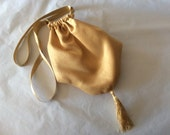 Regency ReticuleBag. Victorian. Jane Austen. Gold Faux Silk.