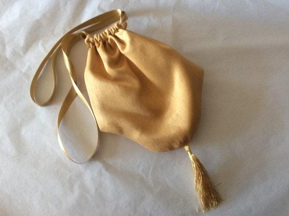 Regency Reticule,Bag. Victorian. Jane Austen. Gold Faux Silk.