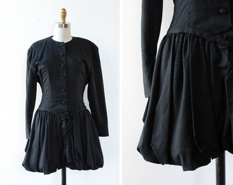Peplum Blazer Blouse XS • 80s Blazer • Peplum Blouse • Vintage Blouse • Puff Sleeve Blouse • Avant Garde Black Blouse| D766