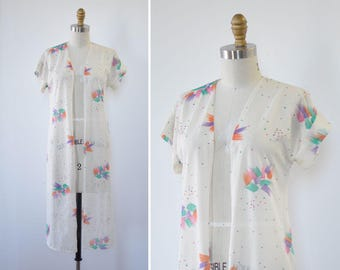 Brushstroke Kimono Duster • Short Sleeve Jacket • 70s Jacket • Duster Jacket • White Kimono • Sheer Duster • Vintage Kimono | T411