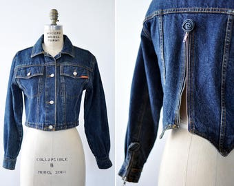 Rose Denim Jacket S • 80s Jacket • Jordache Cropped Denim Jacket • Vintage Denim Jacket • 80s Denim Jacket • Denim Jacket Vintage | O376
