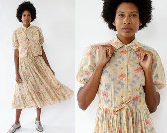 Albert Nipon Dress Vest Set S/M • Floral Cotton Dress • Summer Dress • Vintage Floral Dress • Puff Sleeve Dress • Cotton Gauze Dress |D1182