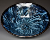 Turbulent Blue Ceramic Salad Bowl Pottery Serving Pasta E