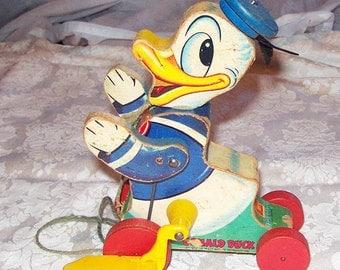DONALD DUCK * 1955 * Vintage Fisher Price ** Walt Disney **  Pull Toy  #765