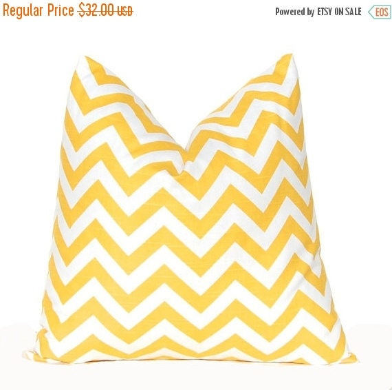 20% Off Sale Yellow Chevron Pillow Covers - Decorative Throw Pillow Covers - 18 x 18 Inches - Pair of Two - Corn Yellow Pillow Covers - Yell