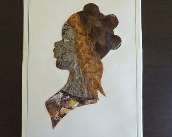 Vintage Butterfly Wings Art Collage - African Woman Silhouette - Artist Signed Made in Central African Republic -  Wall Decor