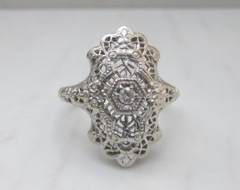 Antique Diamond 14k White Gold Filigree Engagement Cocktail Ring, Size 6.5