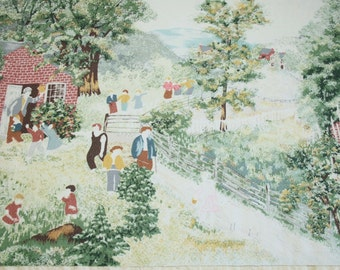 "Very Rare Grandma Moses ""Mary and Little Lamb"" Vintage Barkcloth, Reclaimed, Faded and Primitive - 28 by 27 Inches"