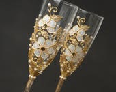Wedding Glasses, White Gold Wedding, Champagne Glasses, Toasting Flutes, Hand Painted Set of 2