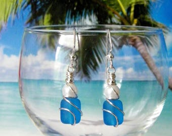 Pacific blue tumbled glass white pearl silver wire wrapped earrings, beach earrings