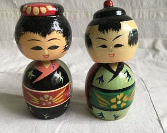 Vintage kokeshi dolls  boxed kokeshi pair  wooden kokeshi bobble heads