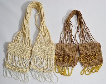 Lot of 2 Vintage Crocheted Beaded Tassle Miser Purses
