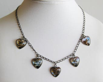 Vintage 40s Butterfly Wing Tropical Palm Trees Silhouette Sterling Silver Heart Charm Necklace
