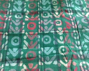 Red and Green Lightweight Gauzy Cotton Fabric 2 3/4 Yards  X0688