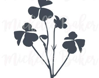 Clover silhouette, commercial use svg, vector clip art, botanical illustration, instant download, SVG, DXF, EPS, png, cutting files