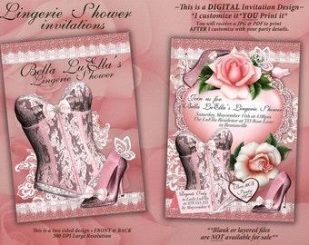 Lingerie Shower Invitation, Bachelorette Party, Bridal Shower, Party Invitations, Corset Invitations, Burlesque Invitations