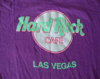 Vintage  80's Hard Rock Cafe Purple Las Vegas Tourist T Shirt L