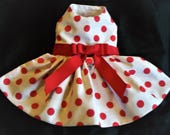 Simple and Sweet Red Coin  Dot Dog Harness Dress XXXS, XXS, XS, S, M