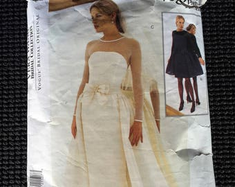 Vogue 1583 Misses Vera Wang Bridal Collection Wedding Dress and Overskirt Sewing Pattern Size 8-12 CUT