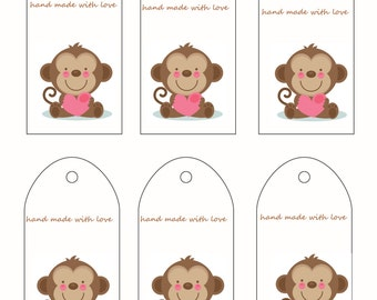 Printable Gift Tags Hand made with Love Labels PDF