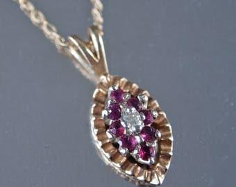 Ruby Diamond Pendant 10 Karat Yellow Gold 1970's Dainty Necklace Marquis Shape