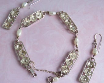 Vintage Scottish Sterling Silver Freshwater Pearl Bracelet / Earrings